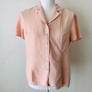 Vintage Liz Claiborne Peach 100% Silk Blouse Sz 6